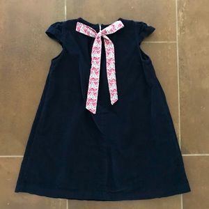 Bella Bliss Navy Corduroy Dress Floral Bow Tie